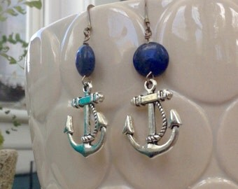 Retro inspired Lapis energy healing reiki anchor earrings