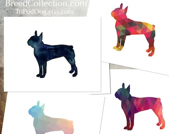 Boston Terrier - Dog  Silhouette Note Card Collection -  Digital Download Printable