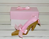 25 Pink and Gold Glitter Women's High Heel Paper Shoes with Coordinating Shoe Box