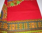 Red Dashiki 2 Yards Per Panel dashiki fabric/ Dashiki clothing/ Accessories/ African Skirt, Dashiki Bags/ Kitenge fabric/ Java print