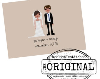 The *Original* FINISHED Custom Pixel People Portrait - Bride and Groom