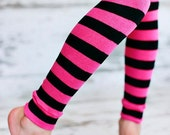 ON SALE Leg Warmers - Pink and Black Stripes