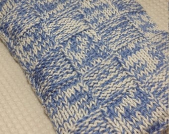 Basketweave knit baby blanket