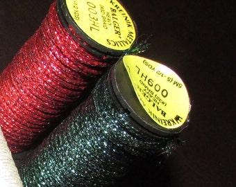 2 rolls Kreinik braid Metallic heavy Thread, #32, red and green,  estate sale find