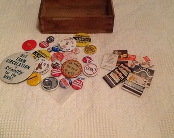 Campaign and Advertising Buttons Lot and Avertising Matchbook Lot
