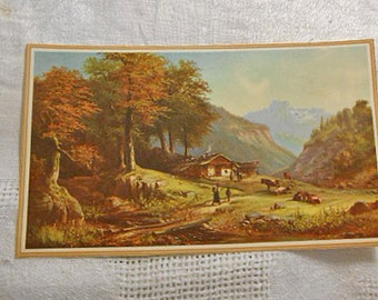 Rustic MOUNTAIN DAIRY FARM Litho Print to Frame, Cows Shepherds Primitive Hut Amber Trees Peaks Valley Brook, Peaceful Pastoral Scene 5 x 8