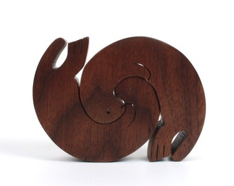 Wood Otter Toy Otter Puzzle Wooden Childrens Animal Puzzle Two Piece Otter Figurine Otter Decoration Walnut