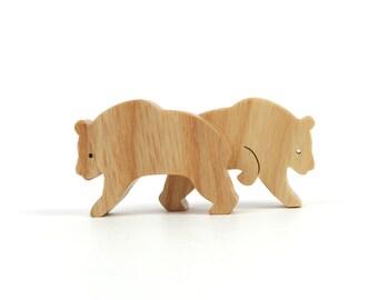 Toy Panda Bears Wooden Miniature Zoo Animals Wood Noah's Ark Animal Panda Figurine Ash