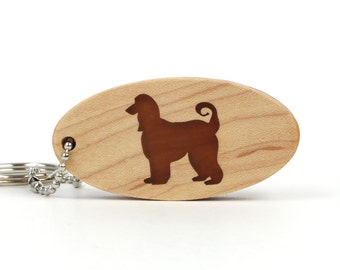 Afghan Hound Key Chain Wood Dog Breed Key Chain Wooden Pet Key Ring Afghan Hound Key Fob Scroll Saw Wood Key Chain
