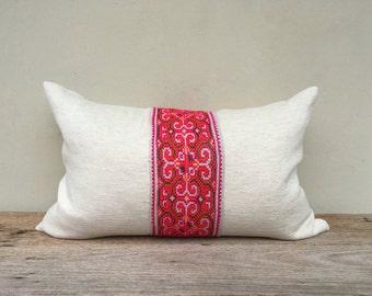 "16"" x 26"" Vintage Hemp Embroidered Tribal Hmong Pillow Case Pure Quatity Hemp, Hmong pillow case, African pillow case, bohemian pilow case,"