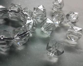 60 Clear Acrylic 12 mm Hexagon Geometric Beads, Jewelry Supplies, DIY Jewelry Making, Craft Supplies,