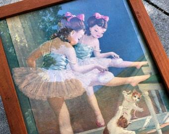 Vintage Ballerina Print Framed Kitten Mirror Reflection