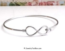 Infinity Bangle Bracelet, Stainless Steel Bracelet, Charm Bracelet Finding, Jewelry Making Supplies, 60mm diameter, 1.8mm thick, #1801