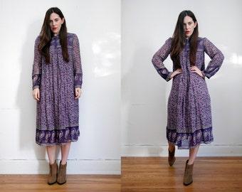 Vintage Indian Cotton Gauze Boho Dress Hippie Dress Ethnic Floral Gauze Cotton Dress 70's
