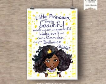 Black Princess Nursery Print, room decor, kids room, Typography poster, nursery, wall art quote, giclee print, fine art, illustration, afro