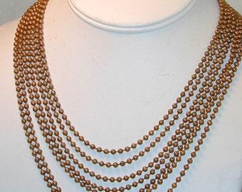Vintage Brass 7 Strand necklace