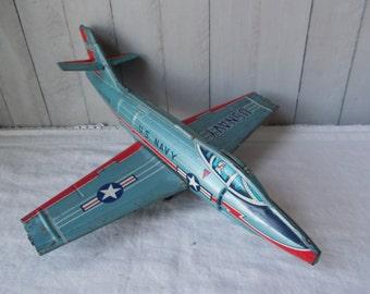 Vintage Tin Litho U.S. Navy Airplane