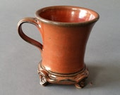 Mug with Feet Rust Red Handmade Pottery Footed