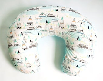 Nursing Pillow Cover,  Teepees and Foxes in Pine, faux fur nursing pillow cover