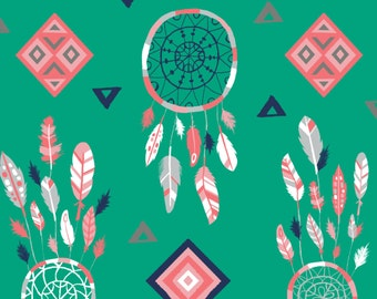 SALE Crib Sheet - Emerald Dream Catcher - Fitted Crib Sheet
