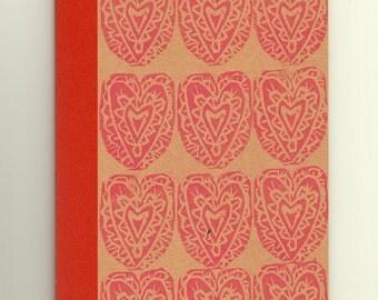 A6 Notebook // Heart Print Pink Red Lino print Journal // Vegan Recycled Mini Sketchbook