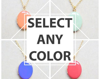 Choose your color - Medium Oval Locket Necklace