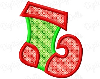 Christmas Elf Stocking Machine Embroidery Applique Design 4x4 5x7 INSTANT DOWNLOAD