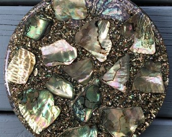 Vintage Abalone Shell Trivet by Betty's Shells