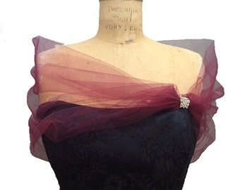 Burgundy Shear Tulle Shrug Stole with Rhinestone Broach