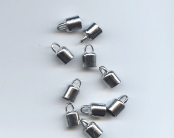 Necklace Cord End Tip Beads Caps W/Loop Silver Tone(Fits 6.5mm Cord) 14x8mm