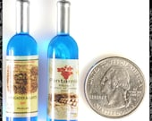 Blue Resin Wine Bottle Pendants or Charms, Set of Two  OD-06