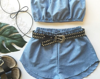 Denim pastel blue cotton matching set festival set fashion twin set crop tube top high waisted shorts