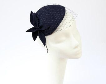 Navy Blue Wool Felt  Fascinator, Mini Hat with the Veil