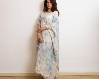 Cotton caftan, maxi loose dress, caftan dress, oversize dress, abaya, tie dye summer gown, unique pice loose dress. s41º