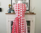 S, M 60s dress, swing dress with mod red dots