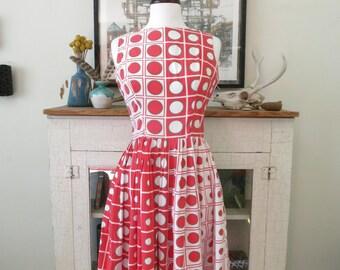 60s swing dress, mid century mod red dot print XS