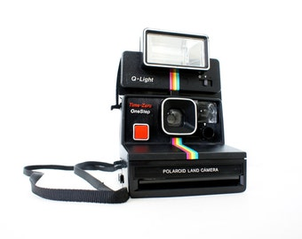 Polaroid Camera SX-70 Black Rainbow OneStep Time-Zero and Q-light - Film Tested Working