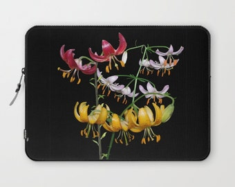 Martagon Lily flowers laptop sleeve, floral photograph, gift for gardener, pink, red, gold flower, nature photograph, floral laptop sleeve