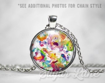 Watercolor Splatter Necklace - Glass Dome Necklace - Watercolor Splatter Pendant - Art Necklace