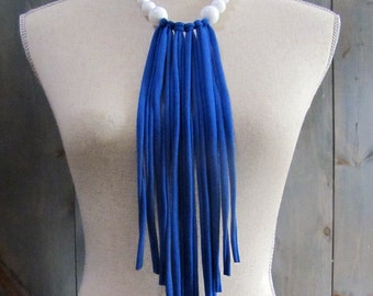 White Beaded and Cobalt Blue Reclaimed Fabric Fringe Necklace