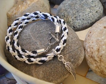 Kumihimo Braided Rattail and Antique Silver Angel Wing Double Wrap Bracelet