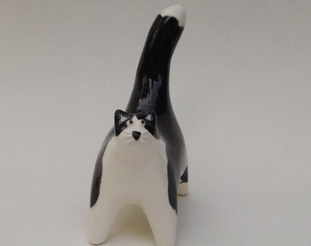 handmade ceramic black and white cat miniature figurine