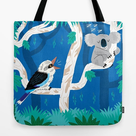 "The Koala and the Kookaburra  - Childrens Tote Bag - Book Bag -  Record bag - cute animal /nature / wildlife - art bag - 18"" x 18"""