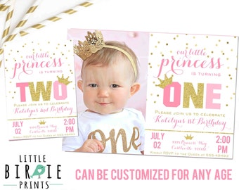 PRINCESS INVITATION Gold and Pink Princess Invitation Gold and Pink Invitation Gold and Pink First Birthday Party Sparkle Confetti