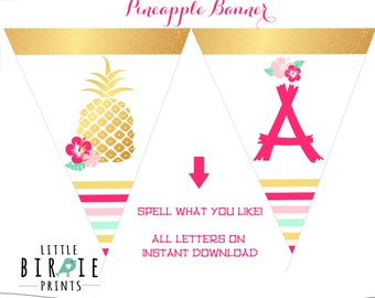 GOLD PINEAPPLE Birthday Party Decorations Pineapple Banner Luau Banner Luau Printable Banner Instant Download Hibiscus Hawaiian party banner