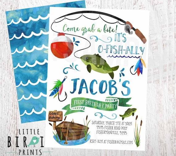 Fishing birthday invitation fishing first birthday invitation for Fishing birthday invitations