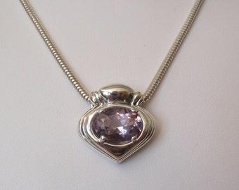 Amethyst Slide Necklace Kabana Sterling Silver Large Oval Rose de France Vintage V0302