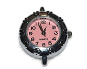 Love Hearts Pink Watch Face with Hearts for Beading Jewelry Finding Supply Circle Round