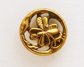 Vintage Brass Openwork Shamrock Button, 14mm, 1 ea