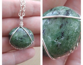 Wire Wrapped Ruby Zoisite Necklace